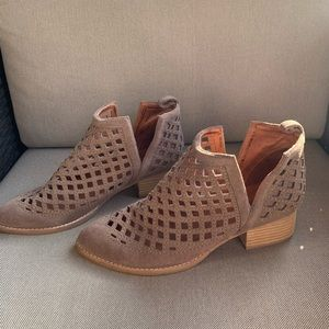 Jeffery Campbell perforated booties in taupe color